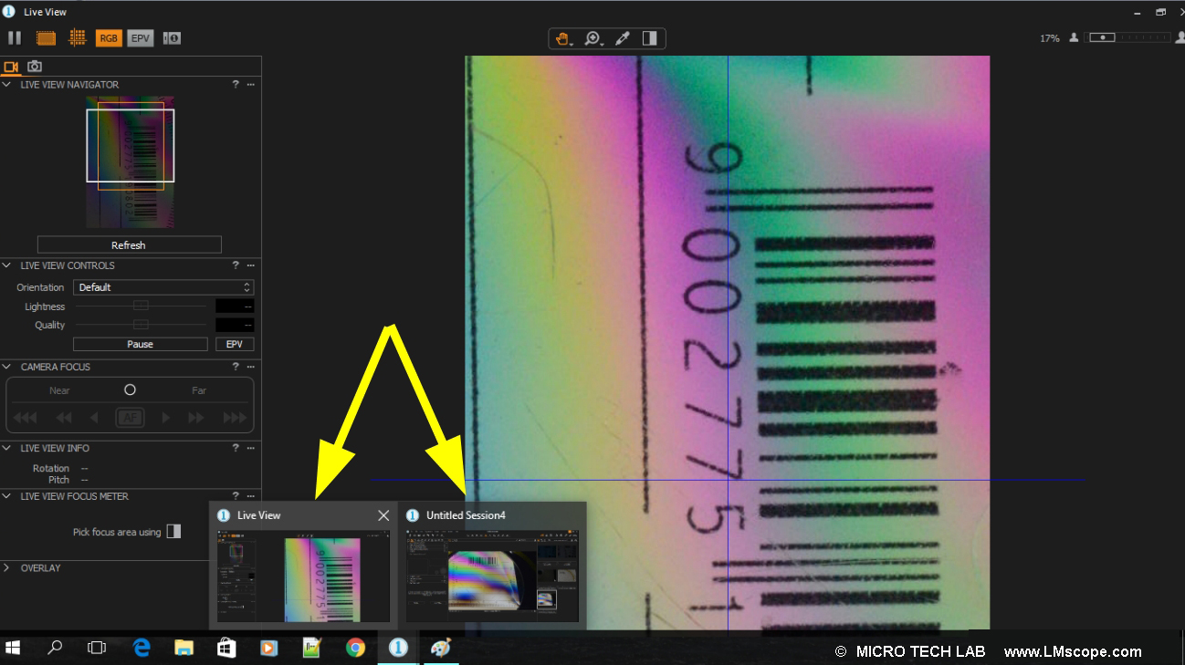 Tethering liveview capture one software para microscopio