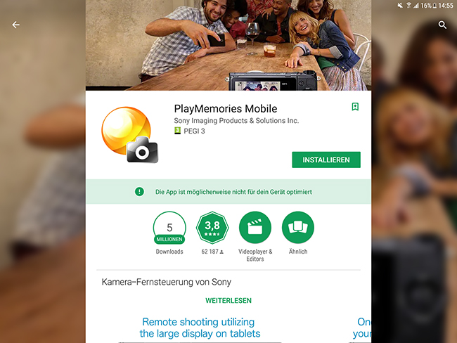 Sony PlayMemories Mobile App for Alpha 6400 DSLM