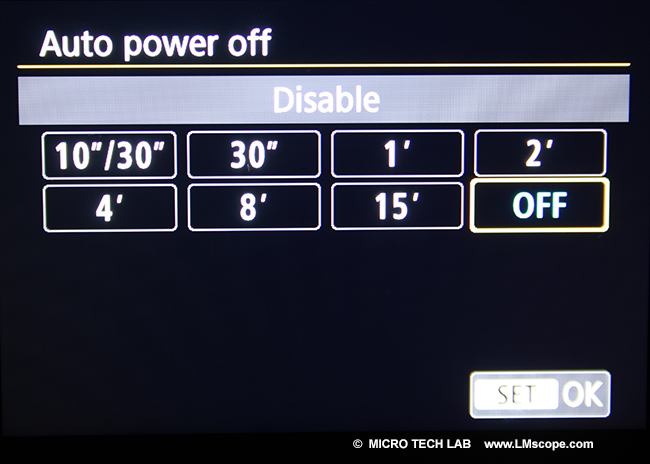 dslr einstellung auto power off