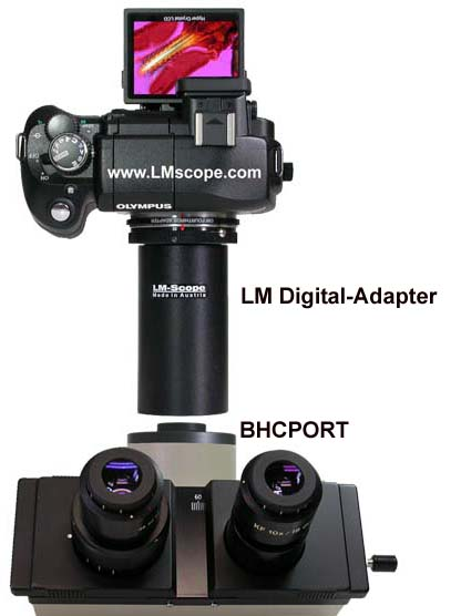 Olympus BH, BHS and BHT microscope with c-mount port and LM adapter Olympus E330
