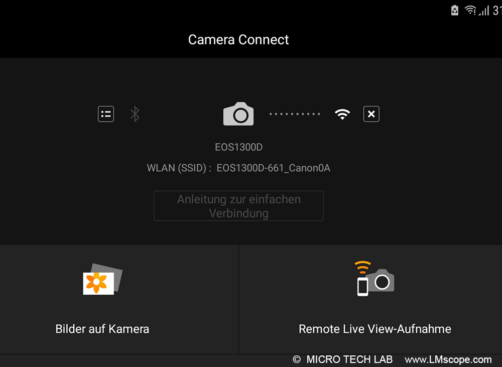The Canon Camera Connect app in microscopy: wireless