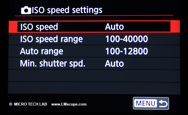 Menu: Canon EOS R ISO settings