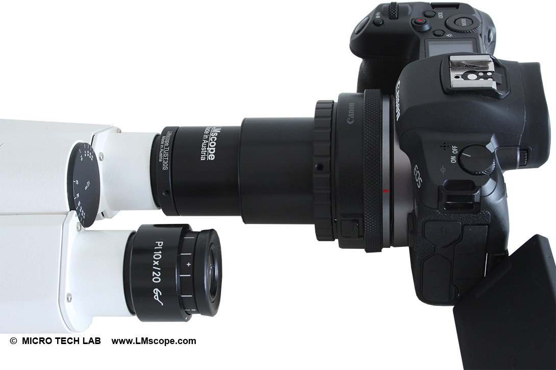 eyepiece adapter on eyepiece tube with Canon EOS R