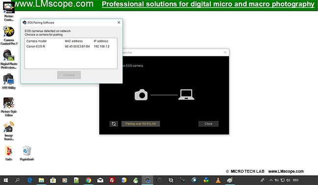 Verbinden mit EOS professional Software: Canon Utility Software paring
