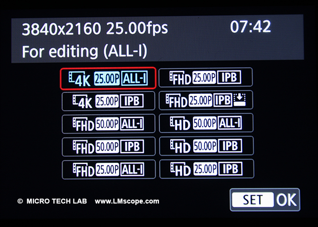 menu: Canon EOS R video settings Full HD 4K