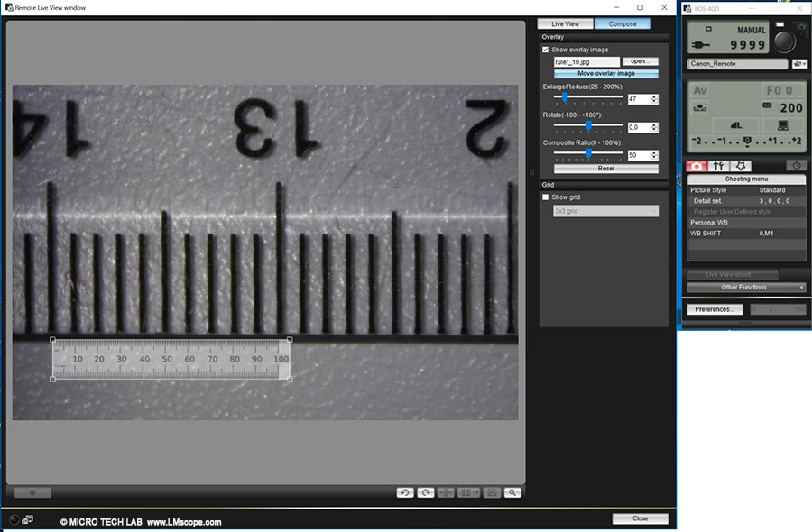 calibration for length measurement in overlay mode