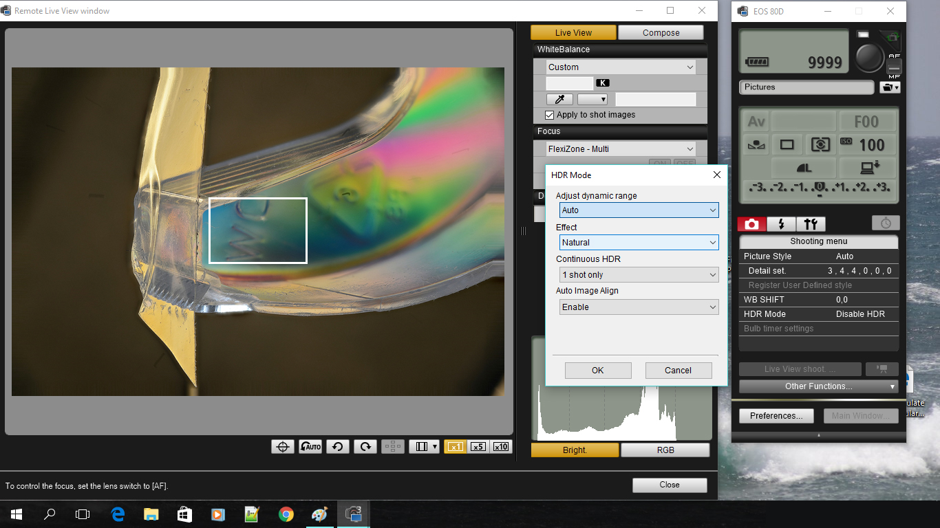 Canon EOS Utility Software with EOS 90D DSLR on microscope