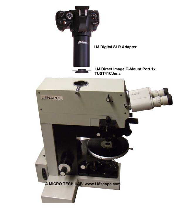 Jena microscope with C-mount port and LM adapter