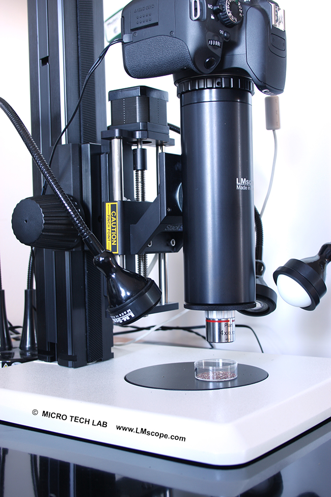 microscope photographique LM, Stackshot rail, Helicon remote software