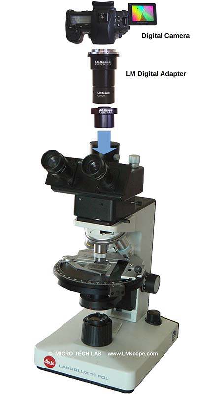 Leitz Laborlux laboratory microscope with digital adapter