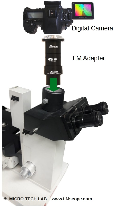 Leitz Diavert with high-end-Adapter integrated planachromatic precision optics for modern DSLR