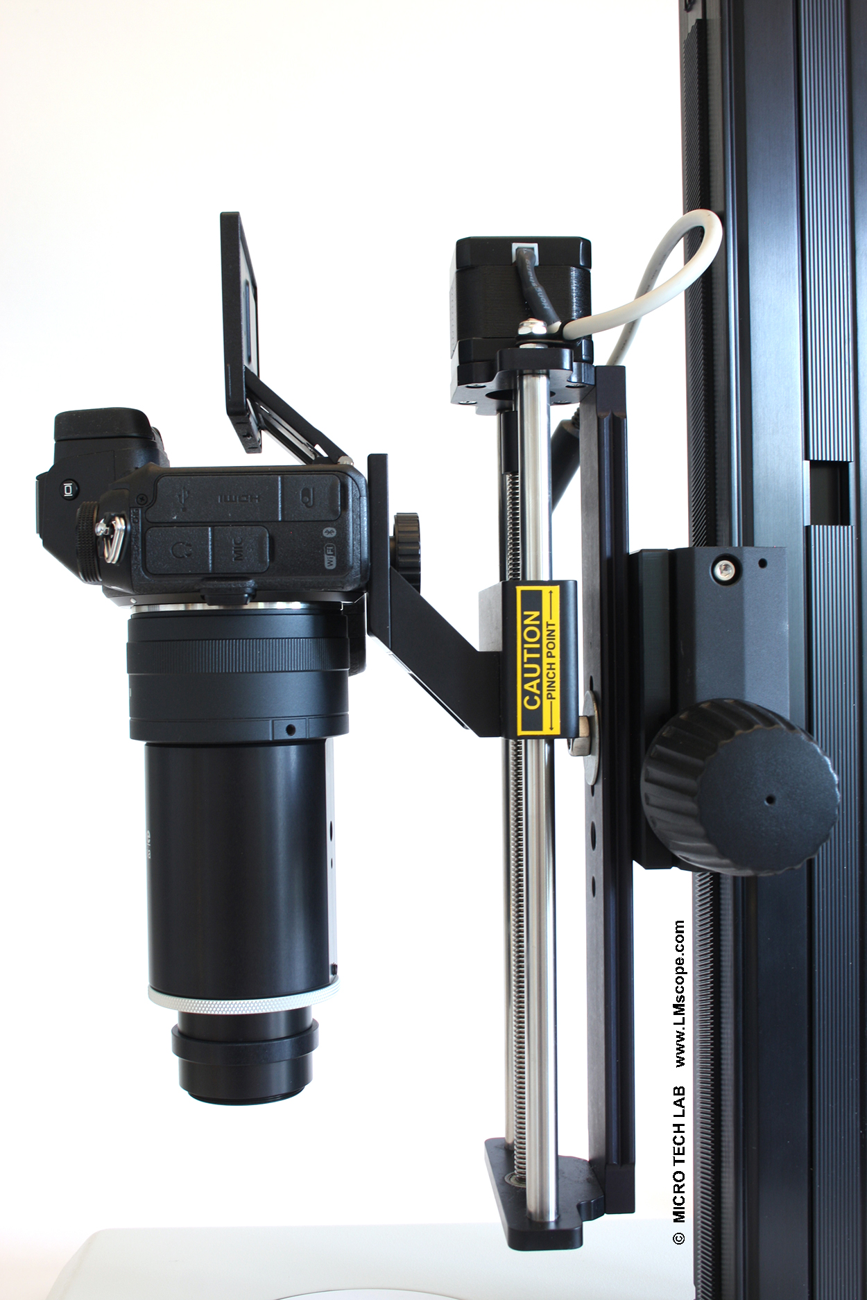 LM macroscope with Stackshot rail option mounting plate focus stacking