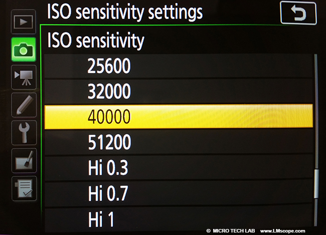 high ISO settings Nikon DSLR for microscopy