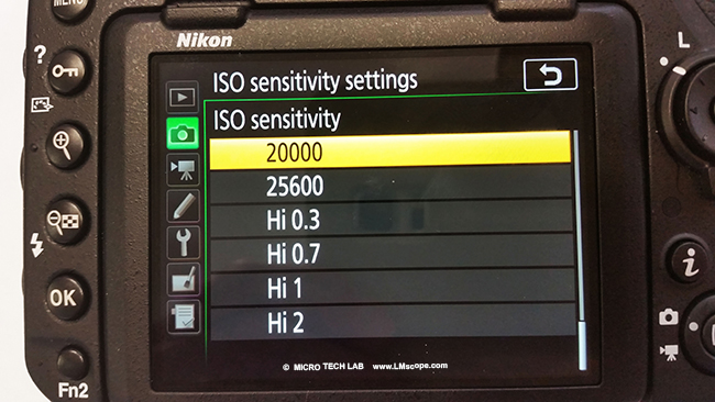 Iso sensitivity microscope camera DSLR