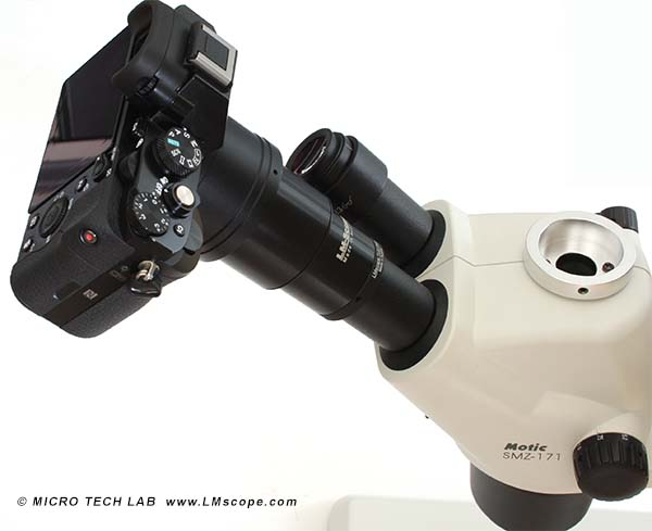 The Sony Alpha 7R on the microscope with the tried and