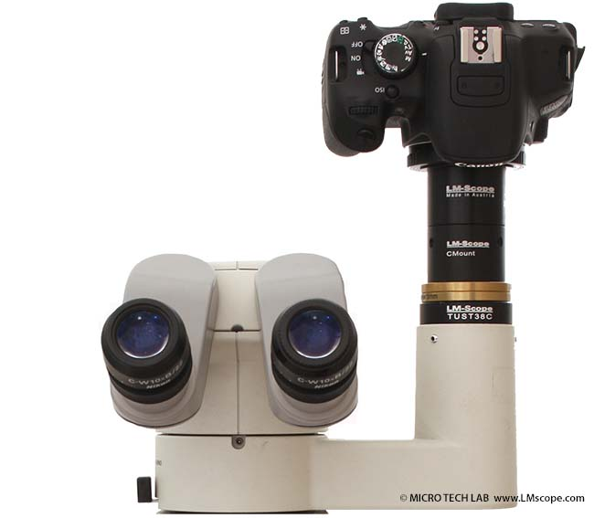 Leitz microscope with Canon EOS 650D adapter solution