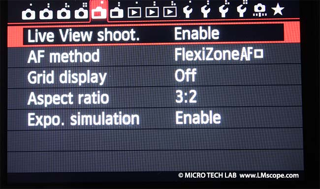 Canon EOS working with live view
