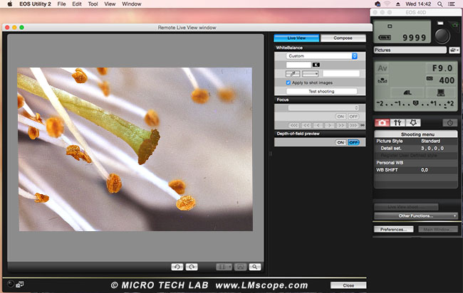 Canon EOS Utility 2 Mini Mac macroscope Live View