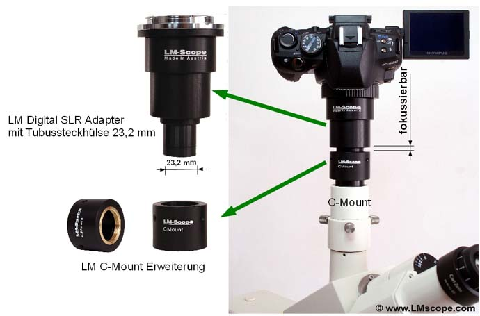 universal adapter fit on eyepiece tube and photo tube (c-mount)