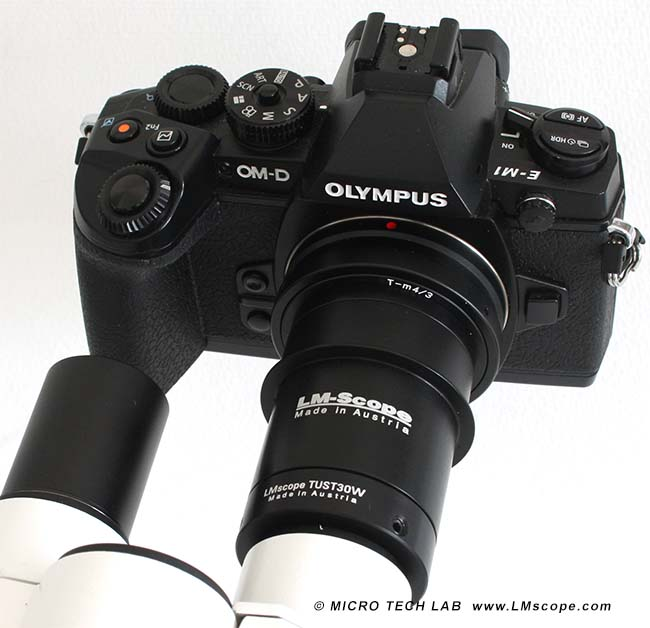 Olympus OM-D E-M1 mit LM digital Adapter am Okulartubus
