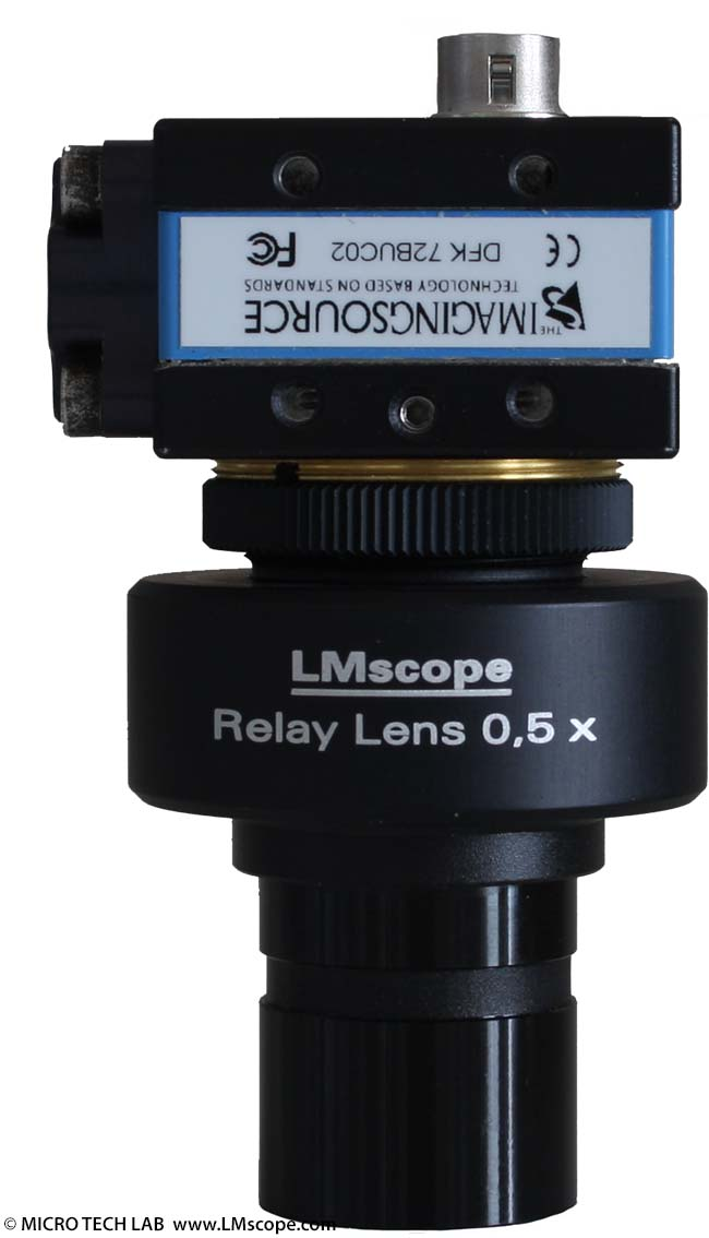 c-mount camera plus LM Relay Lens 0,5x for eyepieceetube