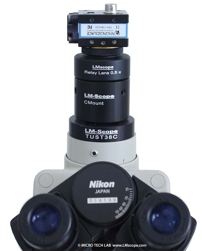 c-mount camera on camera port of Nikon Alphaphot with LM Relay Lens