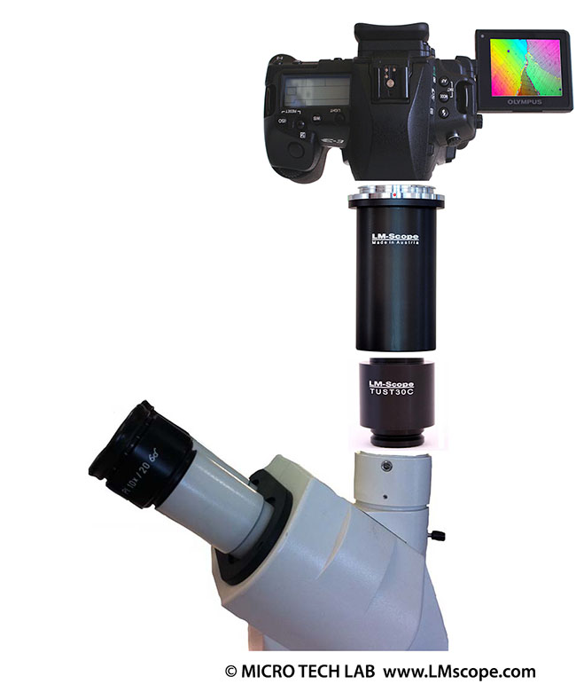 adaptation: camera on microscope Zeiss Stemi 2000 for photodocumentation